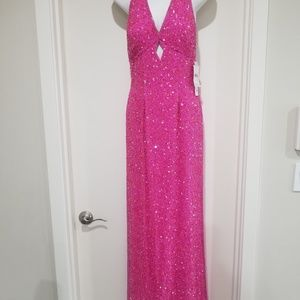 Scala XS Pink Formal Prom Dress Beaded Sequins NWT